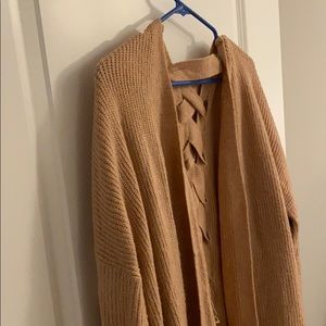Blush color back-braided cardigan